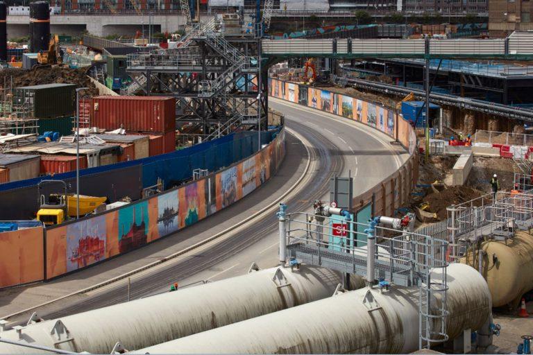 Aerial view of the Battersea hoarding June 2017
